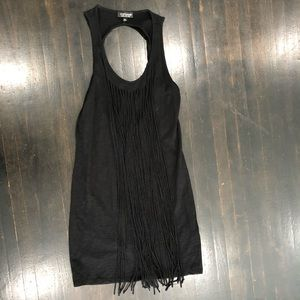 Black Fringe Dress Open back